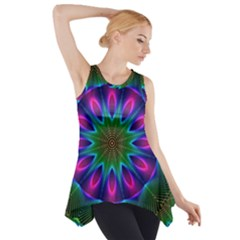 Star Of Leaves, Abstract Magenta Green Forest Side Drop Tank Tunic