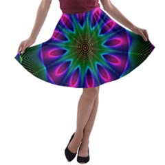 Star Of Leaves, Abstract Magenta Green Forest A-line Skater Skirt