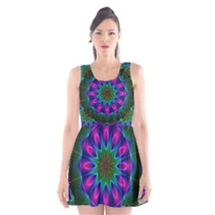 Star Of Leaves, Abstract Magenta Green Forest Scoop Neck Skater Dress