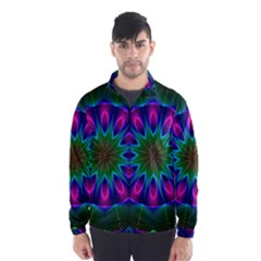 Star Of Leaves, Abstract Magenta Green Forest Wind Breaker (men)