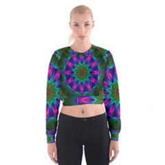 Star Of Leaves, Abstract Magenta Green Forest Women s Cropped Sweatshirt