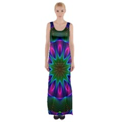 Star Of Leaves, Abstract Magenta Green Forest Maxi Thigh Split Dress