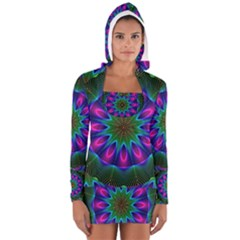 Star Of Leaves, Abstract Magenta Green Forest Women s Long Sleeve Hooded T-shirt