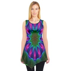 Star Of Leaves, Abstract Magenta Green Forest Sleeveless Tunic