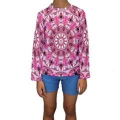Twirling Pink, Abstract Candy Lace Jewels Mandala  Kid s Long Sleeve Swimwear