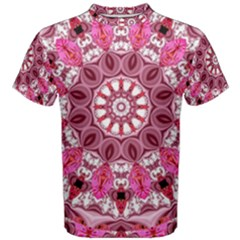 Twirling Pink, Abstract Candy Lace Jewels Mandala  Men s Cotton Tee