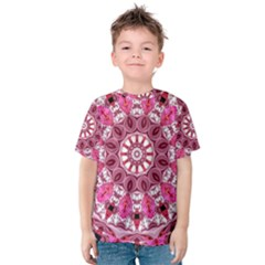 Twirling Pink, Abstract Candy Lace Jewels Mandala  Kid s Cotton Tee