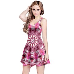 Twirling Pink, Abstract Candy Lace Jewels Mandala  Reversible Sleeveless Dress