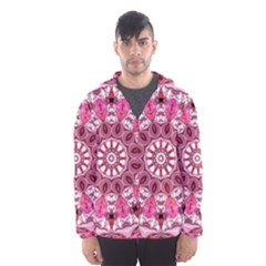 Twirling Pink, Abstract Candy Lace Jewels Mandala  Hooded Wind Breaker (men)