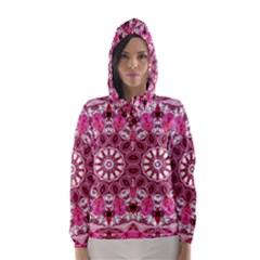 Twirling Pink, Abstract Candy Lace Jewels Mandala  Hooded Wind Breaker (women)
