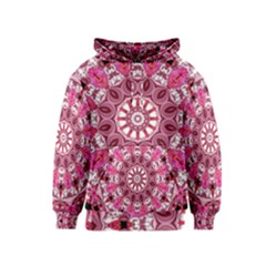 Twirling Pink, Abstract Candy Lace Jewels Mandala  Kids  Pullover Hoodie