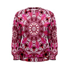 Twirling Pink, Abstract Candy Lace Jewels Mandala  Women s Sweatshirt