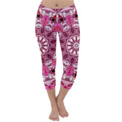 Twirling Pink, Abstract Candy Lace Jewels Mandala  Capri Winter Leggings