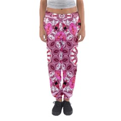 Twirling Pink, Abstract Candy Lace Jewels Mandala  Women s Jogger Sweatpants
