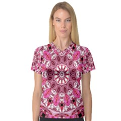 Twirling Pink, Abstract Candy Lace Jewels Mandala  Women s V Neck Sport Mesh Tee