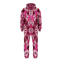 Twirling Pink, Abstract Candy Lace Jewels Mandala  Hooded Jumpsuit (kids)