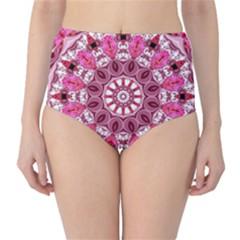Twirling Pink, Abstract Candy Lace Jewels Mandala  High Waist Bikini Bottoms