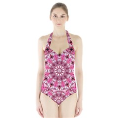 Twirling Pink, Abstract Candy Lace Jewels Mandala  Women s Halter One Piece Swimsuit