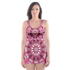 Twirling Pink, Abstract Candy Lace Jewels Mandala  Skater Dress Swimsuit