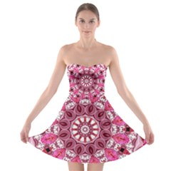 Twirling Pink, Abstract Candy Lace Jewels Mandala  Strapless Dresses