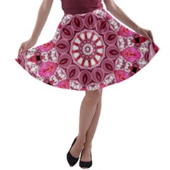 Twirling Pink, Abstract Candy Lace Jewels Mandala  A-line Skater Skirt