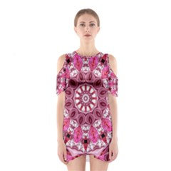 Twirling Pink, Abstract Candy Lace Jewels Mandala  Cutout Shoulder Dress