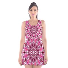 Twirling Pink, Abstract Candy Lace Jewels Mandala  Scoop Neck Skater Dress