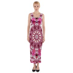 Twirling Pink, Abstract Candy Lace Jewels Mandala  Fitted Maxi Dress