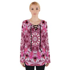 Twirling Pink, Abstract Candy Lace Jewels Mandala  Women s Tie Up Tee