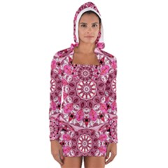 Twirling Pink, Abstract Candy Lace Jewels Mandala  Women s Long Sleeve Hooded T Shirt