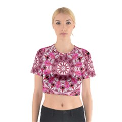 Twirling Pink, Abstract Candy Lace Jewels Mandala  Cotton Crop Top