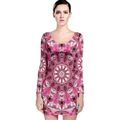 Twirling Pink, Abstract Candy Lace Jewels Mandala  Long Sleeve Velvet Bodycon Dress