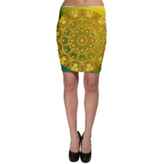 Yellow Green Abstract Wheel Of Fire Bodycon Skirts
