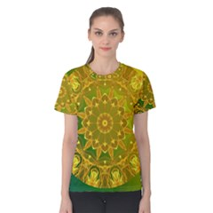 Yellow Green Abstract Wheel Of Fire Women s Cotton Tee