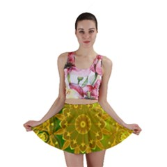Yellow Green Abstract Wheel Of Fire Mini Skirts