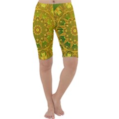Yellow Green Abstract Wheel Of Fire Cropped Leggings