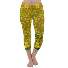 Yellow Green Abstract Wheel Of Fire Capri Winter Leggings