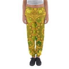 Yellow Green Abstract Wheel Of Fire Women s Jogger Sweatpants
