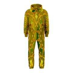 Yellow Green Abstract Wheel Of Fire Hooded Jumpsuit (kids)