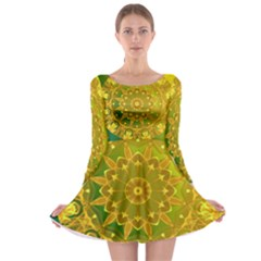 Yellow Green Abstract Wheel Of Fire Long Sleeve Skater Dress