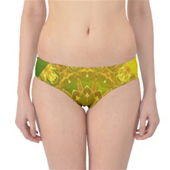 Yellow Green Abstract Wheel Of Fire Hipster Bikini Bottoms