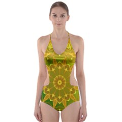Yellow Green Abstract Wheel Of Fire Cut-Out One Piece Swimsuit