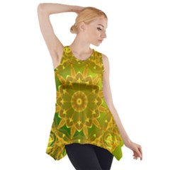 Yellow Green Abstract Wheel Of Fire Side Drop Tank Tunic