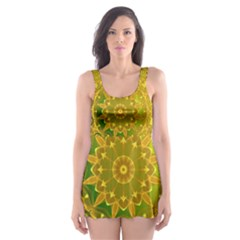 Yellow Green Abstract Wheel Of Fire Skater Dress Swimsuit