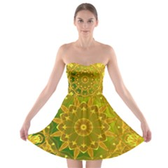 Yellow Green Abstract Wheel Of Fire Strapless Dresses