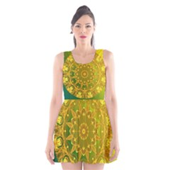 Yellow Green Abstract Wheel Of Fire Scoop Neck Skater Dress