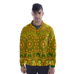 Yellow Green Abstract Wheel Of Fire Wind Breaker (men)