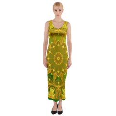 Yellow Green Abstract Wheel Of Fire Fitted Maxi Dress