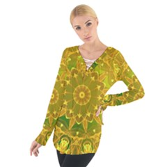 Yellow Green Abstract Wheel Of Fire Women s Tie Up Tee