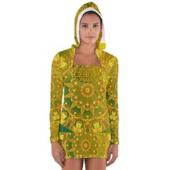 Yellow Green Abstract Wheel Of Fire Women s Long Sleeve Hooded T Shirt